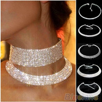 New Crystal Rhinestone Collar Necklace Choker Necklaces Wedding Birthday Jewelry ( SIZE MEANS QUANTITY OF ROW) (Size: 5) = 1651262148