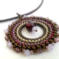 Brown round pendant, brown and pink beaded necklace, brick stitch piece.