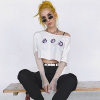 Short Sleeve Alphabet Sexy Lace T-shirts [1331231359092]
