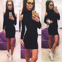 Elegant Womens Sexy High Neck Bodycon Slim Fall Winter Party Cocktail Mini Dress = 1956644548