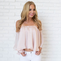 Satin Chic Off Shoulder Blouse In Pale Pink