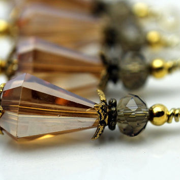 Vintage Style Golden Topaz Teardrop and Smokey Topaz Bead Dangle Charm Drop Set