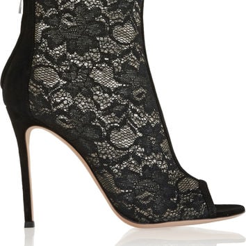 Gianvito Rossi - Suede-trimmed lace ankle boots
