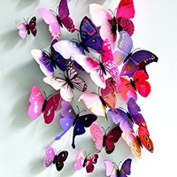 Pink and Purple 24PCS 3D Butterfly Wall Stickers Decor Art Decorations 3 size