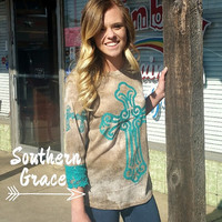 Turquoise Tera's On Vintage 3/4 Sleeve Shirt with Lace Trim