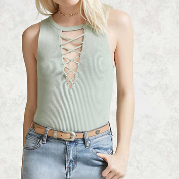 Ribbed Lace-Up Top