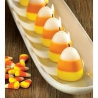 Tag Fall, Halloween, or Thanksgiving Candy Corn Scented Candles, Set of 6