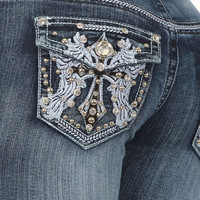 Platinum Plush Denim Jeans Curvy Couture Plus Size boot cut cross and angel wing