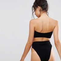 ASOS DESIGN mix and match crinkle high leg high waist bikini at asos.com