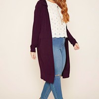 Plus Size Hooded Cardigan