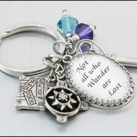 Quote Key Chain, Sayings Keychain, Key Chain Jewelry, Crystal Key Chain, Verse Key Chains