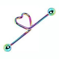 Titanium Anodized Heart Industrial Barbell;Rainbow;Sold individually