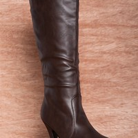 Forever Prosper And Preen Tall Faux Leather Ruched Stiletto Boots Della-80 - Brown