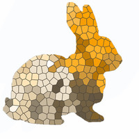 Orange Minimalist Geometric Rabbit Art Print by Estef Azevedo
