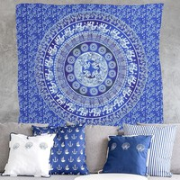 Indian Printed Elephant Mandala tablecloth Throw Hippie tablecloth Hanging Decorative Wall Tapestries