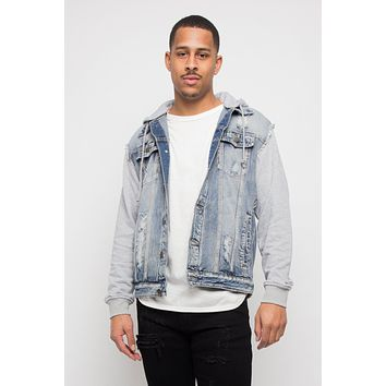 Fleece Denim Jacket with Hood