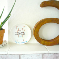 You are Adorkable, Decorative Plate, Adorable Nerd Bunny Plate, Kawaii Hipster Ceramics, Geeky Valentine Illustration, Painted Ceramics