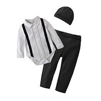 born Baby Clothing Sets Autumn Baby Boys Clothes Toddler Infant Rompers + Trousers +Hat Kids Outfits
