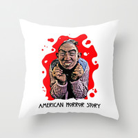AMERICAN HORROR STORY   BLOOD SPATTER   PEPPER Throw Pillow by Silvio Ledbetter