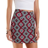 Coral Tribal Print Bodycon Mini Skirt by Charlotte Russe