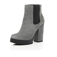 River Island Womens Grey leather snake print ankle boots