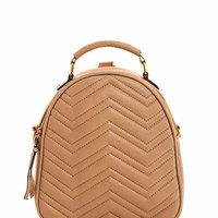 Chevron Stitched Mini Backpack