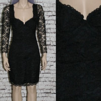 90s bustier dress black lace long sleeves cocktail party prom grunge hipster nu goth gothic witchy gypsy xs s midi