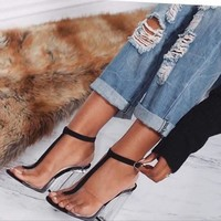 Clear Stripe High Heel Sandal