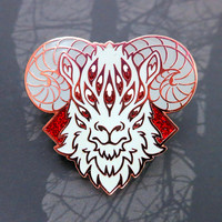 Demon Ram - Hard enamel pin - Red glitter