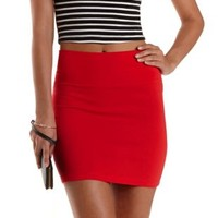 Chinese Red High-Waisted Bodycon Mini Skirt by Charlotte Russe