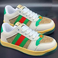GUCCI Retro distressed small dirty shoes green red stripe board shoes white shoes