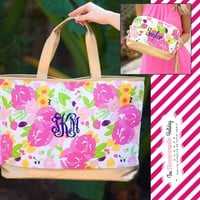 Floral Gold Cabana Tote with matching Make Up Bag
