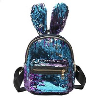 Backpack Women Sequins Backpack Cute Rabbit Ears