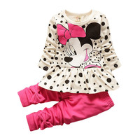 Spring Fashion baby girls suits cartoon falbala long-sleeved T-shirt + bowknot pants Children's suit kids clothes leggings sets