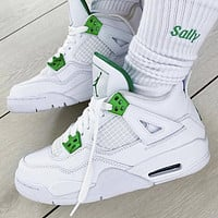Nike Air Jordan 4 Retro Metallic Green Men's and Women's Sneakers Shoes