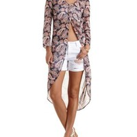 Paisley Print Chiffon High-Low Top by Charlotte Russe