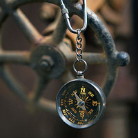Vintage Antique Brass Key Chain Ring (Brass Compass)