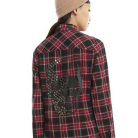 Red Black & White Plaid Studded Skull Girls Woven Button-Up