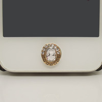 NEW Arrival 1PC Bling Crystal Victorian Lady Cameo Jewel iPhone Home Button Sticker Charm for iPhone 4,4s,4g,5,5c Friend Gift