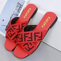 FENDI summer new fashion outer wear flat letters wild cross elastic band sandals and slippers Shoes Red 1