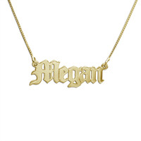 18k Gold-Plated Silver Old English Name Necklace