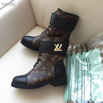 LV Louis Vuitton Women Fashion Leather b Zipper black High Top Mid Boots with strings Shoes Winter Autumn best qaulity
