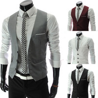 2014 new arrival men suits vest slim dress vests slim Leisure waistcoat formale gentle business jacket size M-XXL PM07