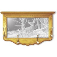 """After the Season"" Deer Etched Glass Art Coat Rack"
