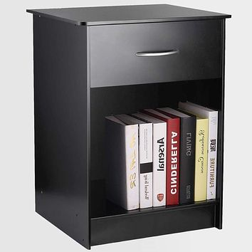 TUSY Black Nightstand with Drawers, End Table Bedroom Side Tables Bedside Cabinets, File Cabinet Storage with Sliding Drawer and Shelf for Home Office