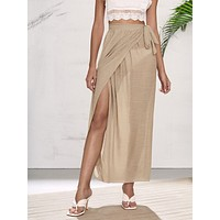 Wrap Tie Side Cover Up Skirt