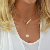 Monogram Y Necklace, Engraved Bar Necklace Gold, Silver, Rose Gold, Initial Disc, Personalized Bar Necklace, Engraved Y Necklace Gold