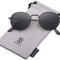 Small Round Polarized Sunglasses Mirrored Lens Unisex Glasses SJ1014 3447