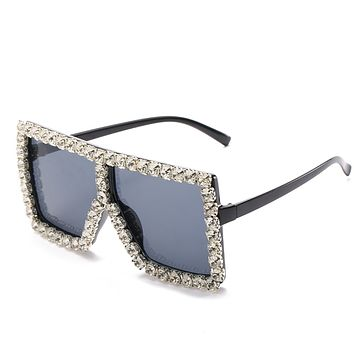 Silver Square Bling  Sunglasses