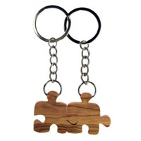 From The Earth - Olive Wood 2 Friends Puzzle Piece Keychains - Fair Trade & Handmade